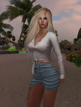 Here shown in light blue with the Shyla Knotted top also from Blueberry